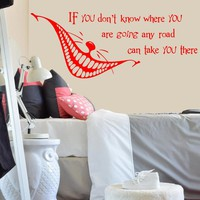 Alice in Wonderland Quote Wall Decal Vinyl Sticker Cheshire Cat Nursery Kids Bedroom Home House Livingroom Decoration WW-96