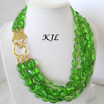 KJL Kenneth J Lane Emerald Green Glass Vintage Necklace