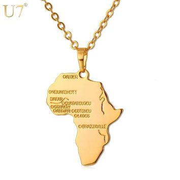 Africa pendant-africa necklace gold|gold africa charm