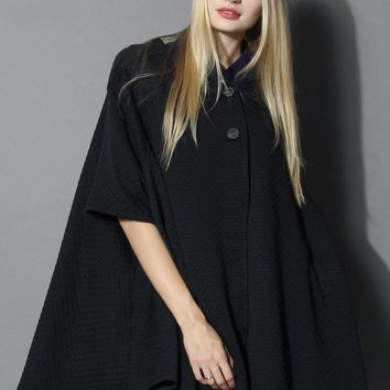 Swinging Quilted Cape in Black