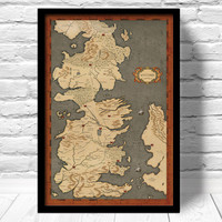 Game of Thrones Map, Vintage Style Map, Fan Art, Home Decor, Westeros Map fine art, Game of Thrones Poster