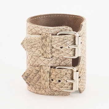 Handmade gray fish leather cuff wide bracelet by Vibys on Etsy