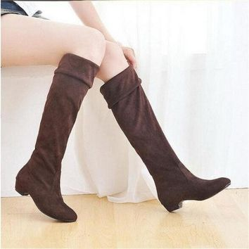 DCCKIX3 Fashion Women Spring Boots Over Knee High Long Boots Black Brown Flat Suede Shoes = 1946077188