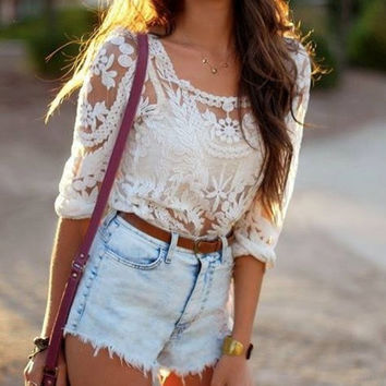 Lace delight top Women Wool White See Through Shirt Top Tshirt Fashio Summer Must Have Festival Fashionable Outfit