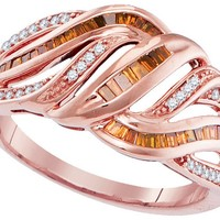 10kt Rose Gold Womens Baguette Red Colored Diamond Openwork Woven Band Ring 3/8 Cttw