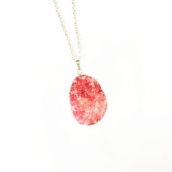 Red Druzy Jewellery, Druzy Pendant Necklace, Best Friend Gift, Silver Plated Necklace, Druzy Necklace, Statement Jewellery, Crystal Necklace