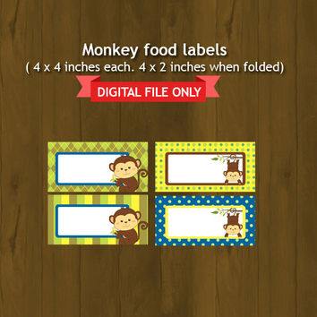 Monkey Food Labels INSTANT DOWNLOAD - Baby Monkey Birthday or baby shower Printable Food Labels - Little Monkey