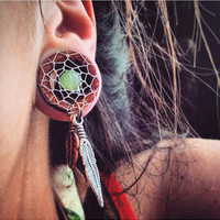 "Bohemian Dream-Catcher Tunnels-Size3/4""(19mm)&7/8""(22mm)Handcrafted wood plugs/Earthy/Men/Dreamcatcher Gauges/Stretchers/Stone Plugs"