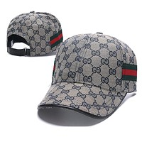 GUCCI Hot Sale Women Men Embroidery Sports Sun Hat Baseball Cap Hat Grey