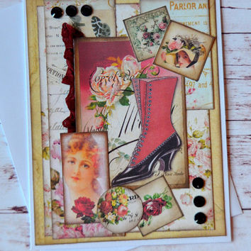Any Occasion Greeting Card, Thinking of You Card, Just Because, Vintage Inspired Handmade Card, Blank Card, Fashion Inspired Greeting Card