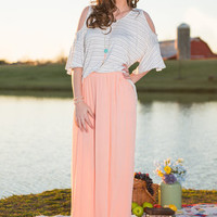 Flow My Way Maxi Skirt, Peach
