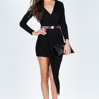 Sideswept Surplice Knit Dress