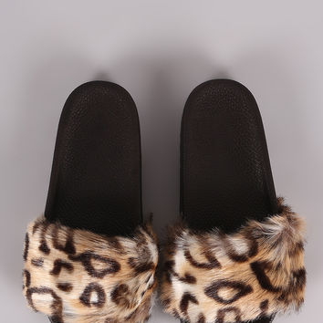 Liliana Cheetah Fur Lug Slide Sandals