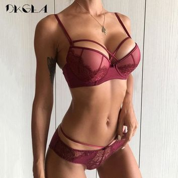 45e8fcb99955 New Top Sexy Underwear Push up Bra Set Cotton Brassiere Deep V B