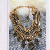 Angelique Hamsa Necklace- Gold {Boutique Collection}