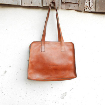 Vintage Brown MARC O' POLO Leather Tote Bag Leather Cosmetic Bag Shoulder Bag