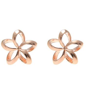 ROSE GOLD STERLING SILVER 925 HAWAIIAN OPEN PLUMERIA FLOWER STUD EARRINGS 13.5MM
