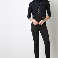 Rib Accent Stretch Knit Leggings