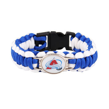Ice Hockey Braided Bracelet NHLColorado Avalanche Charm Paracord Survival Bracelet Outdoor Camping Bracelet Jewelry Gifts