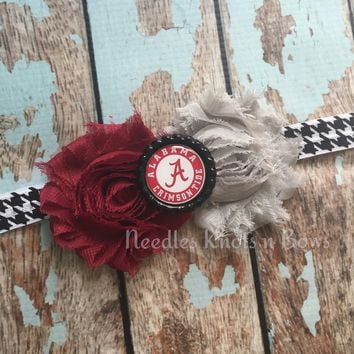University of Alabama Headband, Girls Alabama Crimson Tide Headband, Alabama Roll Tide Shabby Chic Headband