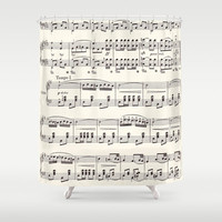 Sheet Music Shower Curtain - Black and cream sheet music  fabric curtain music vintage sing, musician gift decor, bathroom  home