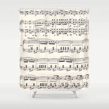 Sheet Music Shower Curtain Black And Cream Fabric Vintage Sing