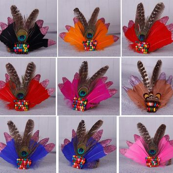 Indian Peacock Feather Headband Beads Headdress Headpieces Carnival Party