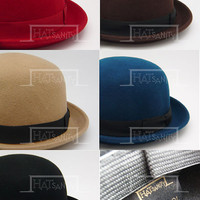 Vintage x Trendy Fashion Wool Felt Soft Bowler Hat - Black / Blue / Beige / Black Hat w/ Red Strip