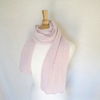 Pale Pink Cashmere Scarf, Hand Knit Knitted, Long Light Scarf, Lace Lacy Wrap Scarf, Valentine's Day Gift