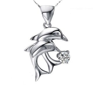 Love Double Dolphins Pendant Necklace
