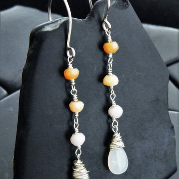 Mexican Fire Opal and Sterling Silver Drop Earrings, Long Earrings, October Birthstone, Wire Wrapped Opal, Gift for Her, Bridal Earrings