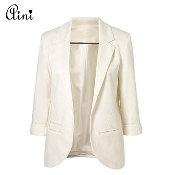Blazer Women 2017 Spring Solid Candy Color Rolled Up Sleeve Boyfriend Style No Buckle Blazer Feminino Slim Blazer Plus Size 2XL