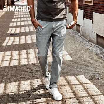 SIMWOOD 2018 New spring  Spray painting Striped  Jeans Men skinny Thin Fashion Slim Fit  Denim Trousers SJ6080
