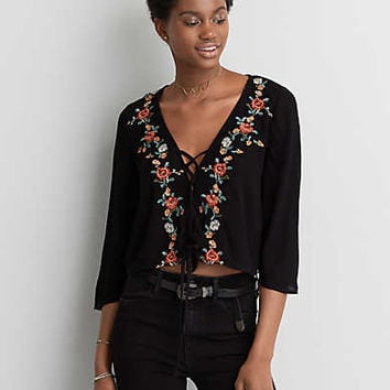 AEO Embroidered Bell Sleeve Top , True Black
