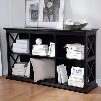 Black Stackable Console Sofa Table Bookcase with Storage Shelves