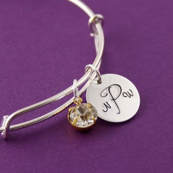 Personalized Monogram Adjustable Bangle Bracelet - Spiffing Jewelry