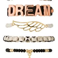 Mixed Metal Dream And Star Bracelet Set - Mixed Metal