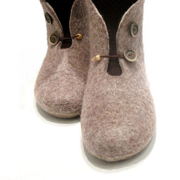 Brown womens felted slippers / booties
