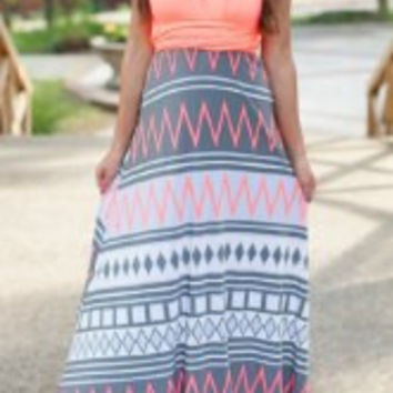 Orange and Pink Zigzag Printed Sleeveless Maxi Dress