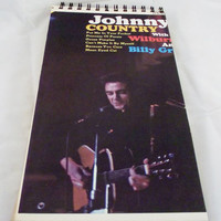 Johnny Cash Retro Record Album Cover Notebook Journal Recycled Paper Upcycled Cream Handmade Eco Friendly Vintage 100 pages