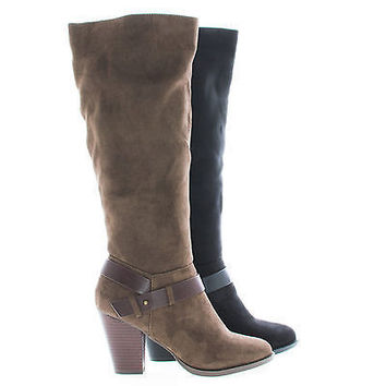 Elfin Knee High Almond Toe Ankle Strap High Block Heel Riding Boots