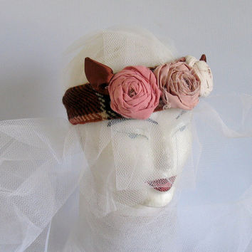 Woodland Wedding Flower Crown, Knit Headband - Toddler Headband - Wedding Headband - Hairband - Adult Headband, Upcycled