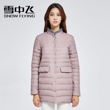 SNOW FLYING 2017 duck down coat women slim stand collar light single breasted medium-long zippers solid ultra thin down jacket