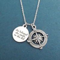 She believed, she could..., so she did, Compass, Silver, Necklace, Travel, Navigation, Accomplishement, Achievement, Gift, Jewelry