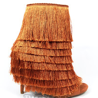 "Nelly Mambo Copper Fringe Open Toe Ankle Boot Booties - 4.75"" Heels"