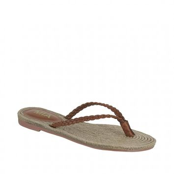MIA Shoes Braided Thong Sandals - Luggage