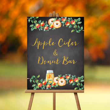 Apple Cider and Donut Bar Sign- PRINTABLE, Late Night Snack sign, Dessert Bar, Desserts sign, Apples, Donuts, Fall, Autumn