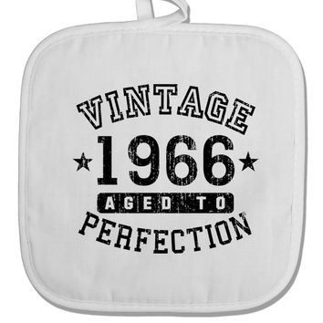 50th Birthday Vintage Birth Year 1968 White Fabric Pot Holder Hot Pad