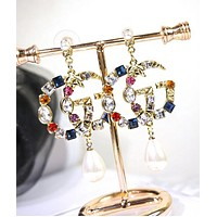 GUCCI 925 Silver Needle Stylish Women Retro GG Letter Colorful Diamond Crystal Pearl Pendant Earrings Accessories Jewelry