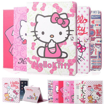 Cute Hello Kitty Smart Cover For Apple iPad 5 Air ipad 6 Air 2 2017 Case Kids Magnetic Shockproof Stand Tablet Cover Girl Gift
